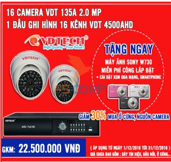 Bộ 16 camera + đầu ghi hình VDTECH