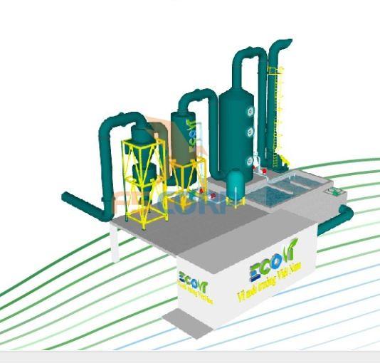 Hệ thống hút bụi - Tổ hợp Cyclone và tháp hấp thụ xử lý khí công nghiệp F5 Eco
