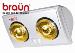 Đèn sưởi hồng ngoại phòng tắm Braun BU02G 2 bóng vàng