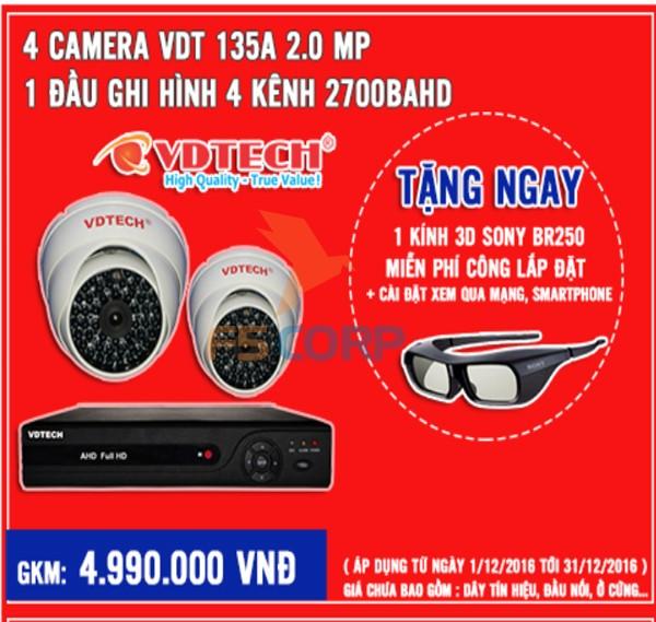 Bộ 4 camera + đầu ghi hình  VDTECH