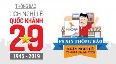 Thông báo lịch Nghỉ Lễ Quốc Khánh 2/9/2019