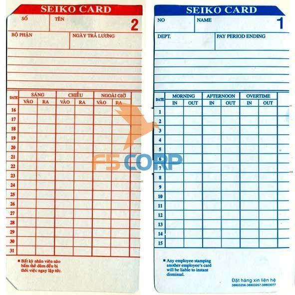 Thẻ giấy chấm công (100 thẻ / xấp)