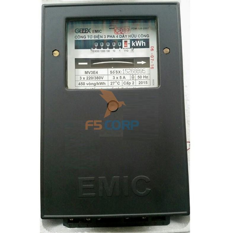 Công tơ 3 pha Emic 3x5A gián tiếp 380V hoặc 100V, vô công