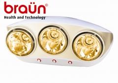 Đèn sưởi nhà tắm hồng ngoại Braun BU03G (3 bóng vàng)