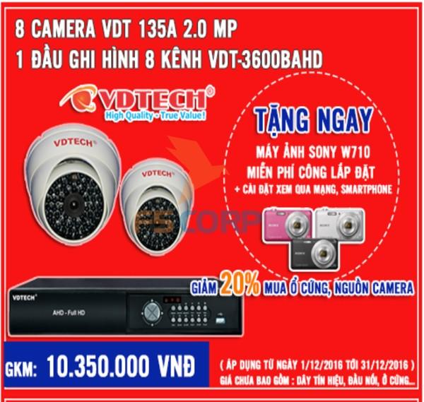 Bộ 8 camera + đầu ghi hình  VDTECH