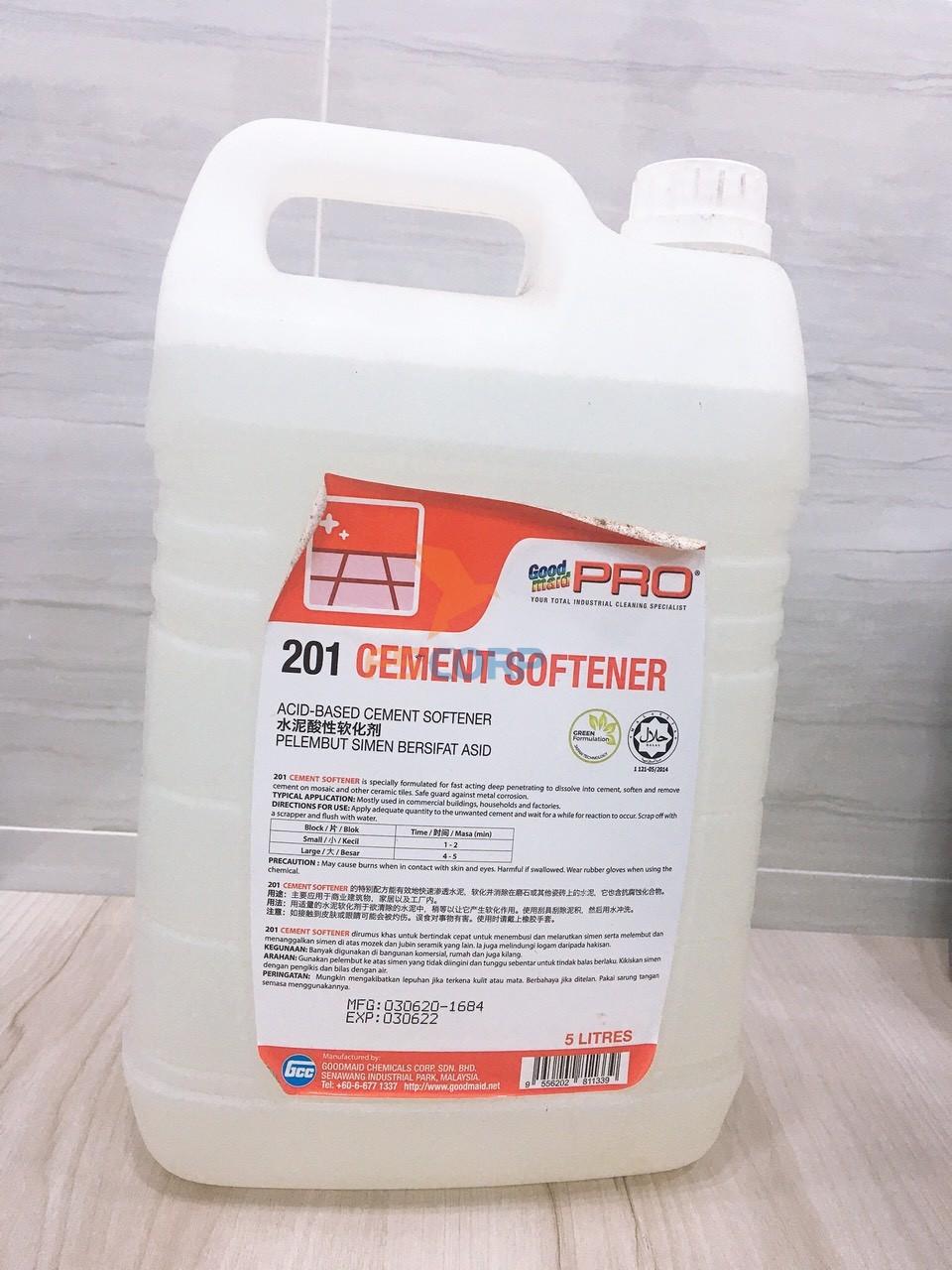 Dung dịch làm mềm xi măng - tẩy xi măng Goodmaid G201 Cement Sotener Made in Malaysia Can 20L